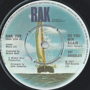 "Hot Chocolate - So You Win Again (7"", Single)"
